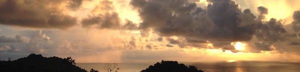Sunset over the Pacific Ocean in Manuel Antonio, Costa Rica