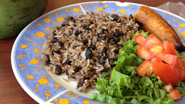 Traditional Gallo pinto from Costa Rica