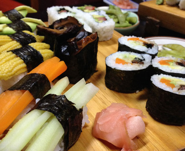 Vegetarian sushi in Ciudad Colon, Costa Rica