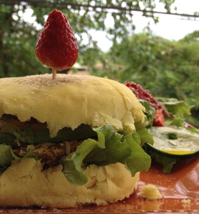 A vegan burger from Como en mi Casa