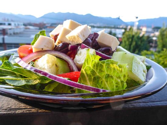 Vegan Greek salad with Sheese feta
