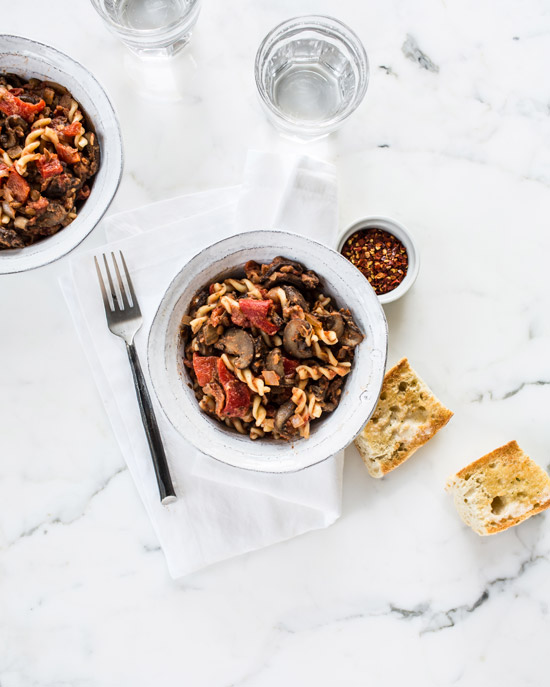 Fusili Lentil-Mushroom Bolognese from Oh She Glows Every Day