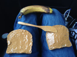 Peanut butter and banana sandwich prep