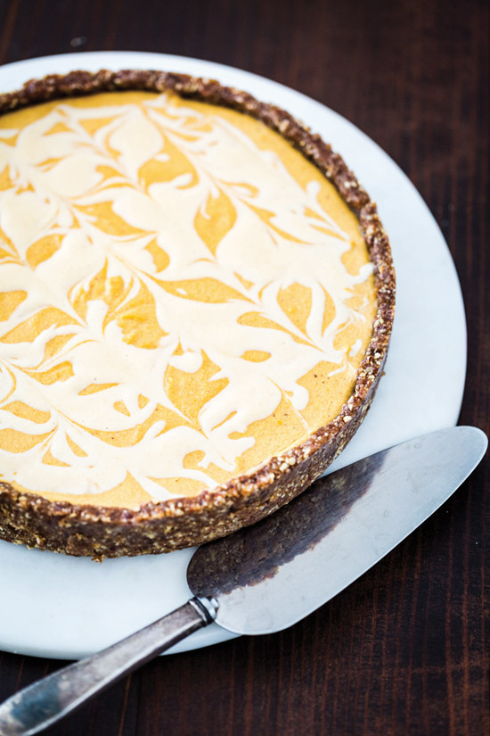 Marbled Pumpkin Cheesecake from But My Family Would Never Eat Vegan!