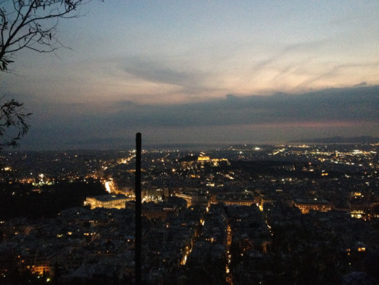 Nighttime in Athens, Greece as seen from Lykavittos Hill