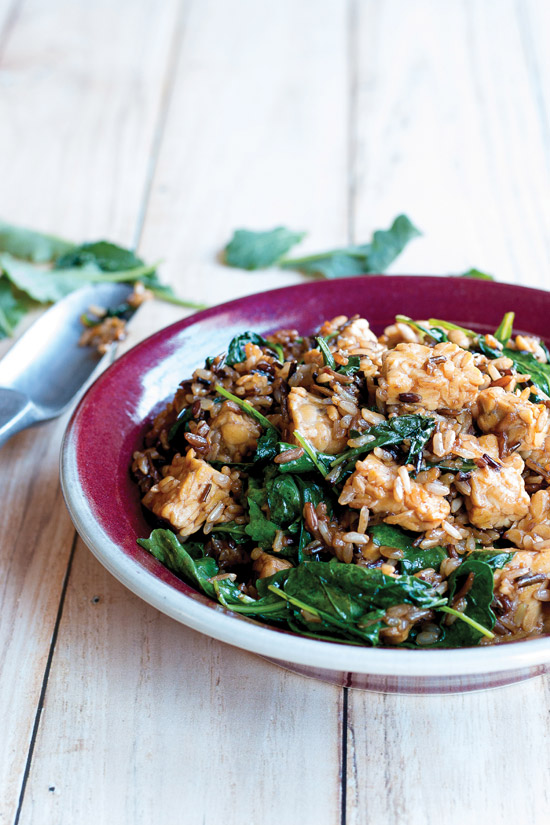 Easy Whole Vegan Kale and Wild Rice Salad With Tempeh