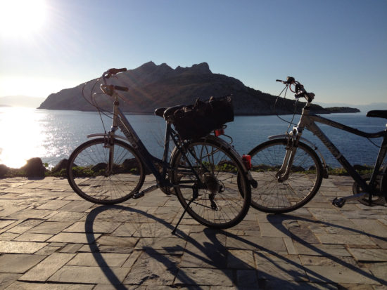Bike riding on Aegina Island, Greece