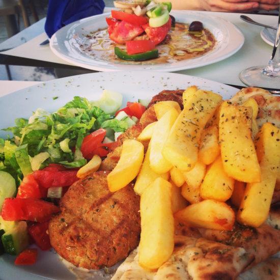 Greek salad and falafel platter at K Grill