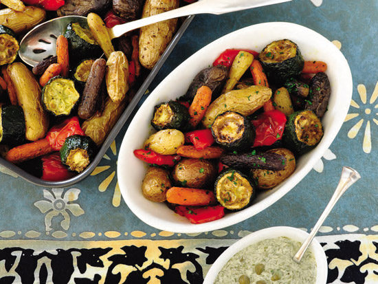 Roasted veggies and dilled lemon-caper sauce from Low-FODMAP and Vegan