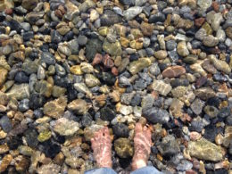 Dipping my feet in the Aegean Sea