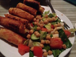 Vegan borek and salad in Kızılağaç, Turkey