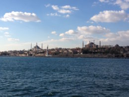 View of the Hagia Sophia and the Blue Mosque from the Bosphorus