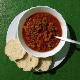 Tomato lentil soup in Costa Rica