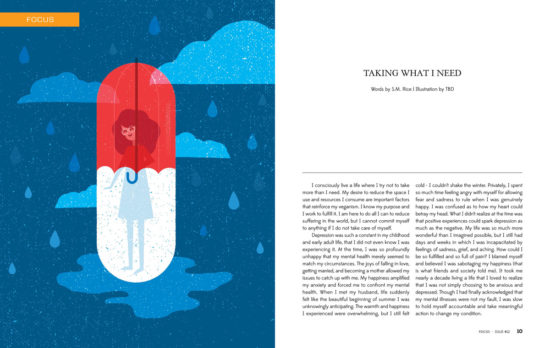 Concept art (colour pill) by Angie Carlucci for Taking What I Need in T.O.F.U. Magazine