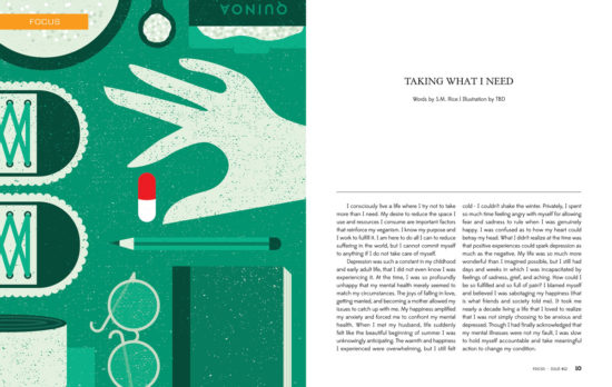 Concept art (green colour) by Angie Carlucci for Taking What I Need in T.O.F.U. Magazine
