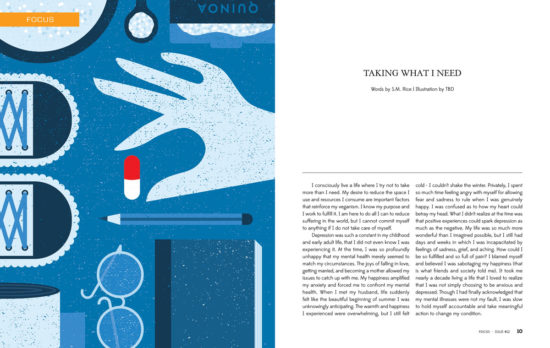 Concept art (blue colour) by Angie Carlucci for Taking What I Need in T.O.F.U. Magazine