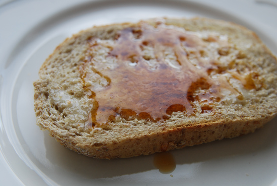 Toast covered with Bumble Bloom vegan honey alternative