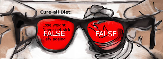 """Image contains a pair of glasses with black frames and red lenses. Within the lenses, there is white text that says """"FALSE"""". In the background, there is a variety of stats for a YouTube video."""