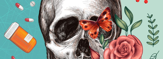 Image contains a white skull with a series of plant leaves and flowers on the right-hand side. On the left, there are pills and a pill bottle.