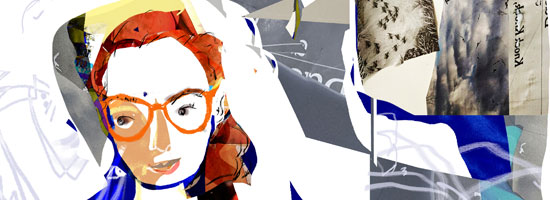 Image contains a collage of with a central figure being a white girl with red hair and orange glasses.