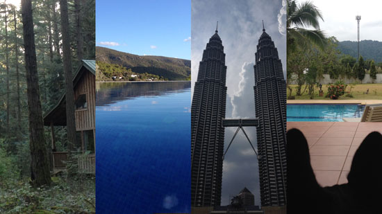 Image contains a series of four vertical panels with a picture of a grey cabin in a forest of large green trees, a picture of a swimming pool overlooking a green hill in the distance, the Petronas Towers in Kuala Lumpur, and a photo taken from behind the ears of a small black dog looking at a pool and large yard in the background.