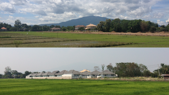 Image contains two photos that split the screen horizontally. The photo above shows green rice fields with trees and some buildings in the distance. Farther away in the background, a large dark hill can be seen below some blue clouds. The photo below that contains a similar scene, but the hill is no longer visible and the sky is grey and hazy.