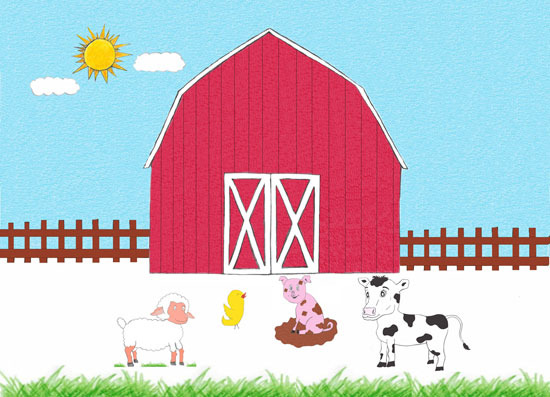 Image contains a red barn in the background. The sun is shining in a clear blue sky behind it. In the foreground, there are four animals: a cow, pig, sheep, and duck.