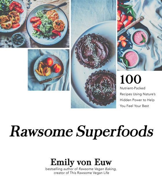 "Image contains a white background with a series of four images of food at the top. Below the image on the right-hand side there is black text that says ""100 Nutrient-Packed Recipes Using Nature's Hidden Power to Help You Feel Your Besr"". Below the images and text, there is centred black text in a bigger font that says ""Rawsome Superfoods""."